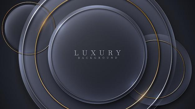 Le linee dorate del cerchio scintillano di lusso su sfondo nero, concetto moderno di design di copertina, illustrazione vettoriale.