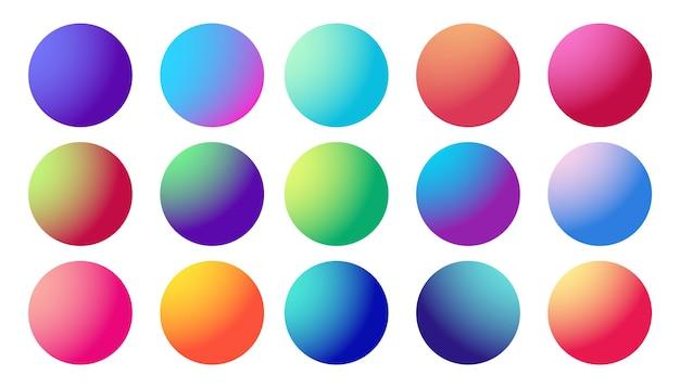 Set di sfere al neon sfumate a cerchio set di pulsanti multicolori alla moda rotondi olografici vettore moderno futuristico...