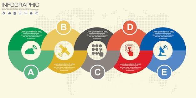 Cerchio infografica. modello per diagramma, grafico, presentazione e grafico. concetto di affari, parti, passaggi o processi.