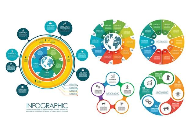 Collezione di modelli di infografica cerchio. illustrazione vettoriale