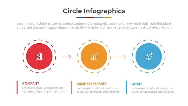 Cerchio infografica con punto elenco e diapositiva modello moderno stile piatto per la presentazione