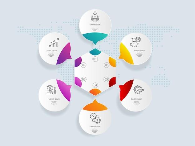 Modello di elemento di presentazione infografica cerchio con icone di affari