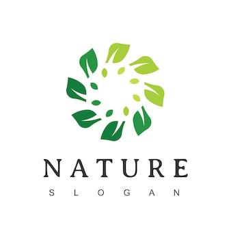Modello di progettazione del logo della foglia del cerchio