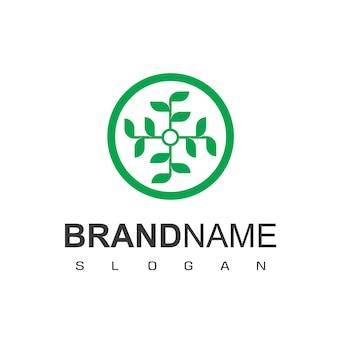 Logo di ornamento foglia cerchio