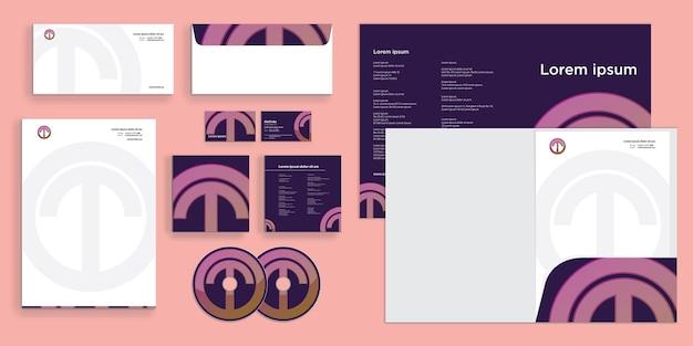 Cerchio lettera t logo lettera o identità aziendale moderna stazionario