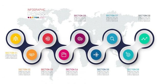 Cerchio collegato con modello di infographic di elementi di business sulla mappa del mondo. Vettore Premium