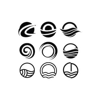 Insieme dell'icona del design del logo del cerchio
