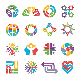 Forme di logo del cerchio. comunità di riciclaggio del gruppo di partenariato insieme forme astratte colorate per simboli e loghi aziendali.