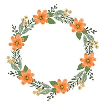 Bouquet di arance circolari cornice circolare con fiori d'arancio e bordo di foglie verdi
