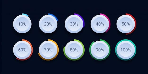 Icona di caricamento percentuale del cerchio