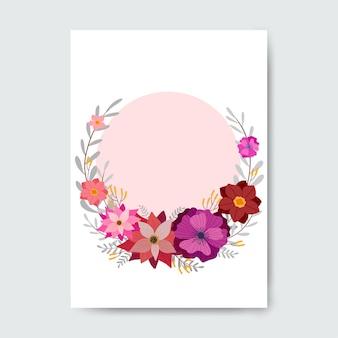 Carta rosa cerchio con decorazioni floreali