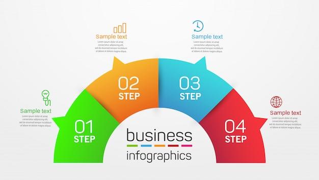 Modello di progettazione infografica aziendale di forma circolare con 4 passaggi