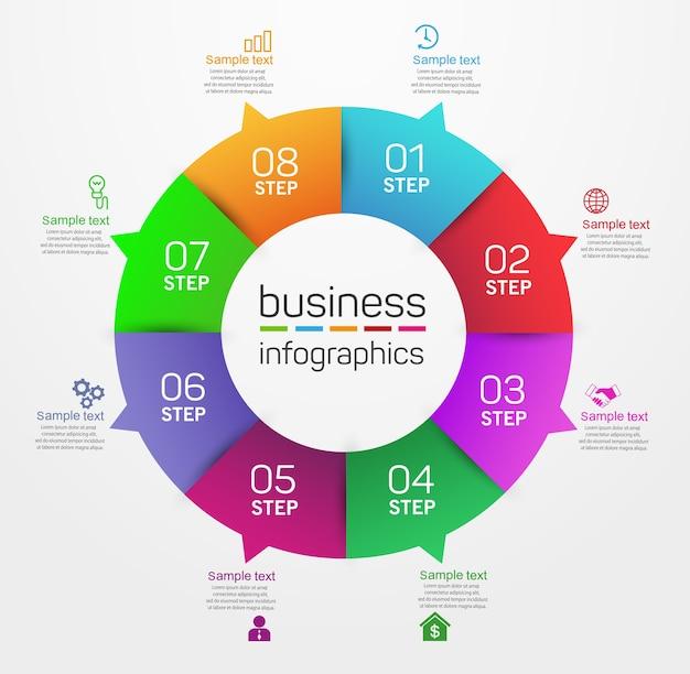 Modello di infografica aziendale di forma circolare con 8 passaggi