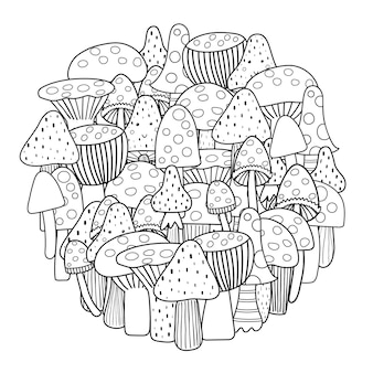 Pagina da colorare a forma di cerchio con funghi