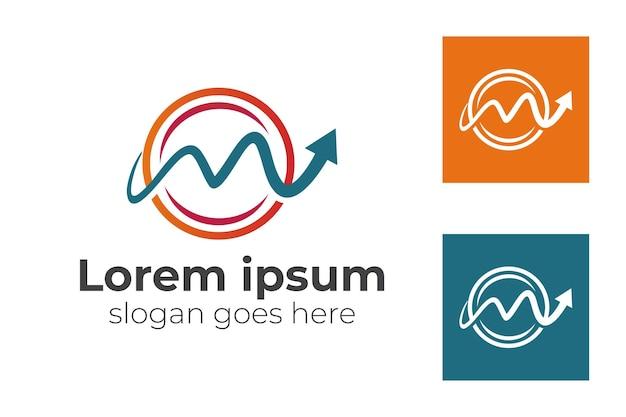 Lettera a forma di cerchio m con freccia statistica superiore o icona di crescita per il modello di logo di avvio dell'attività