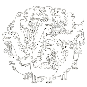 Modello a forma di cerchio con simpatici dinosauri per libro da colorare