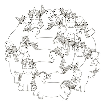 Modello a forma di cerchio con unicorni carino.