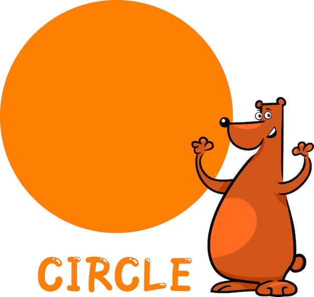 Forma del cerchio con orso dei cartoni animati