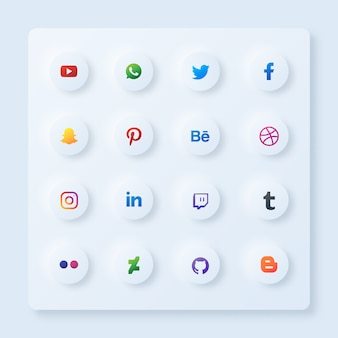 Circle set di icone di social media con stile neumorfismo