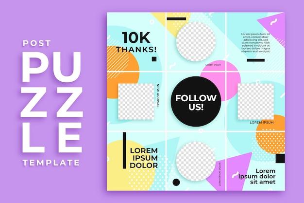 Modello di feed di puzzle di instagram post cerchio e quadrato