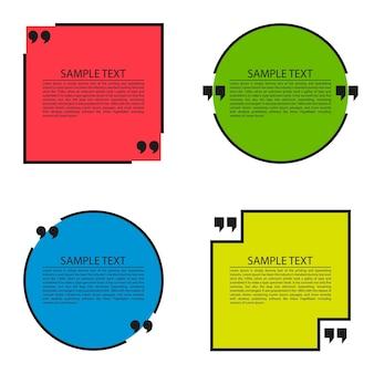 Bolla di testo citazione circolare e quadrata modello modulo preventivo modello vuoto preventivo set di citazioni