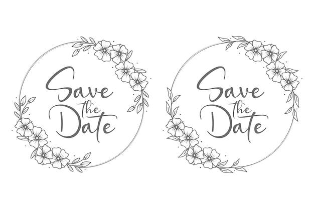 Distintivi e monogramma di nozze floreali minimal in stile cerchio