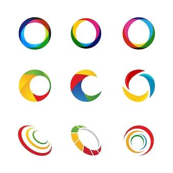 Modello di progettazione dell'icona di cerchio techno vettoriale
