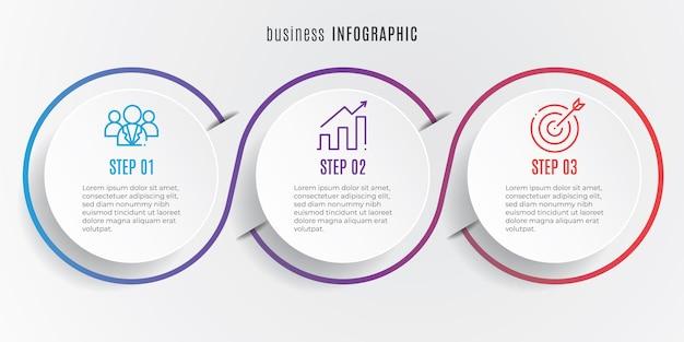 Circle timeline infografica modello 3 passaggi