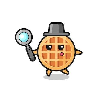 Cerchio waffle personaggio dei cartoni animati che cerca con una lente d'ingrandimento, design carino