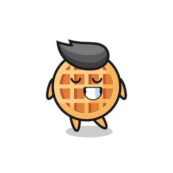 Illustrazione di cartone animato cerchio waffle con un'espressione timida, design carino