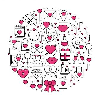 Cerchio con simboli d'amore in stile linea