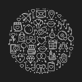 Cerchia con simboli d'amore.