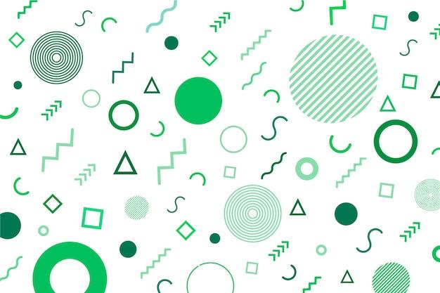 Cerchi e linee nei toni del verde sullo sfondo di memphis