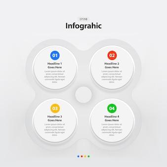 Modello di infografica passo cerchi