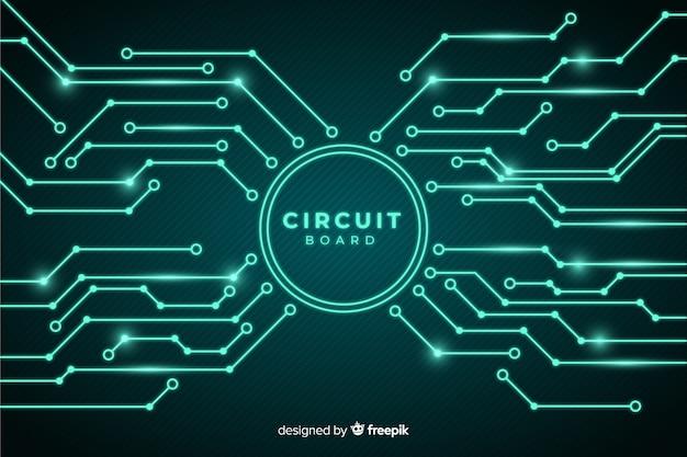 Stile realistico del circuito sfondo Vettore Premium