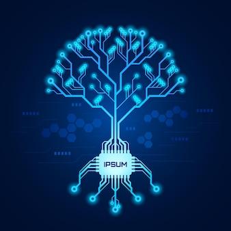 Schema del circuito stampato a forma di albero con radici formate con chip. albero tecnologico futuristico