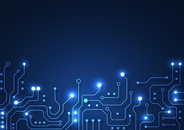 Fondo di tecnologia del circuito con il sistema di collegamento di dati digitali alta tecnologia e il computer elettronico