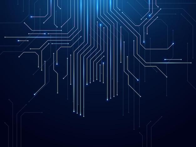 Circuito stampato con elaborazione tecnologia futuristica astratta