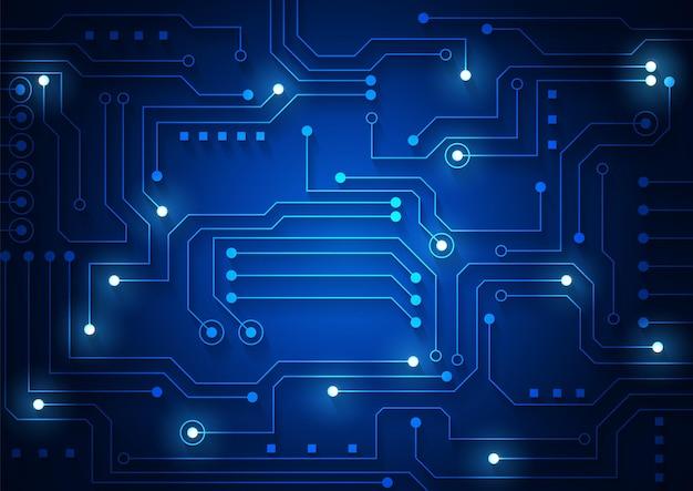 Sfondo della tecnologia dei circuiti con sistema di connessione dati digitale hi-tech e progettazione elettronica del computer