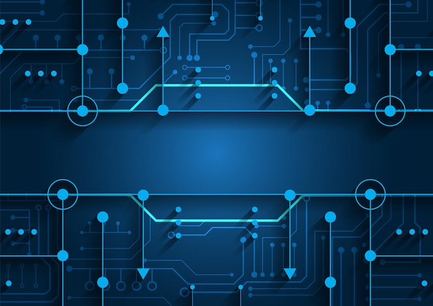 Sfondo della tecnologia dei circuiti con sistema di connessione dati digitali hi-tech e progettazione elettronica del computer