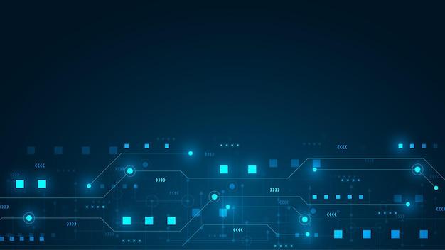 Sfondo di tecnologia del circuito con sistema di connessione dati digitali hi-tech e design elettronico del computer