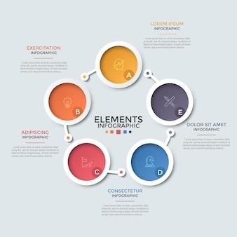 Grafico circolare. cinque elementi rotondi con simboli lineari e lettere all'interno collegati da linee. concetto di ciclo produttivo chiuso con 5 passaggi. modello di progettazione infografica moderna.