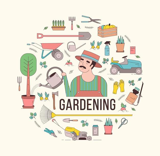 Composizione circolare con attrezzi o attrezzi da giardinaggio e contadino o lavoratore agricolo