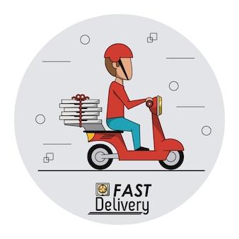 Sfondo cornice circolare con uomo consegna pizza veloce