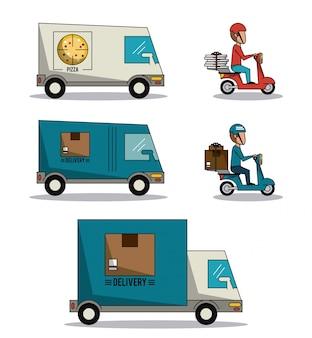 Sfondo di telaio circolare con set di camion di consegna veloce
