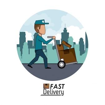Uomo di consegna veloce del paesaggio della città del manifesto della città della struttura circolare con i pacchetti del carrello a mano