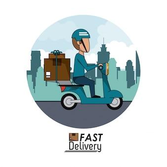 Paesaggio della città del manifesto della struttura circolare con il motorino veloce dell'uomo di consegna con i pacchetti
