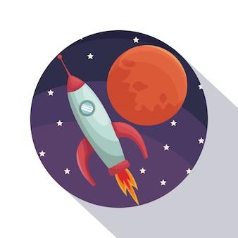 Ombreggiatura circolare della struttura dell'universo del primo piano del manifesto con razzo e pianeta