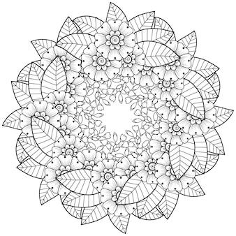Cornice circolare con fiore mehndi. ornamento decorativo in stile etnico. pagina del libro da colorare.