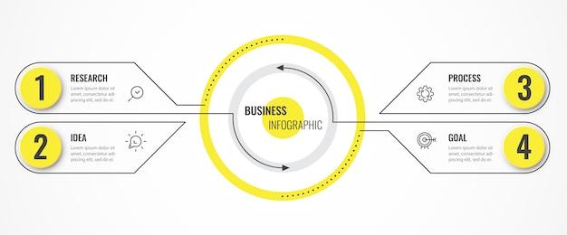 Modello di struttura sottile linea circolare infografica con frecce e 4 opzioni o passaggi.